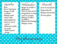 A la maison des astuces on pinterest marseille sons - Organisation menage planning ...