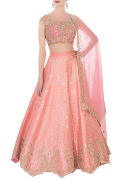 Add class to your ethnic wear collection with this pink raw silk lehenga set. Flaunting a chic embroidered blouse, it comes with a pink embellished organza dupatta that completes its look.
