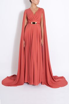 Elie saab Long Cap Detail Gown in Red | Lyst