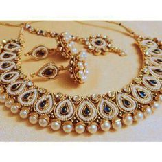 Shop Designer Pearl And Stone Choker Necklace by Runjhun Jewellery online. Largest collection of Latest Necklaces online. Single Pearl Necklace, Pearl Pendant Necklace, Pearl Jewelry, Jewelery, Silver Jewellery, Stone Necklace, Gold Necklace, Necklace Online, Earrings