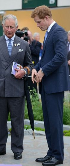Prince Charles and his son Prince Harry at the Chelsea Flower Show