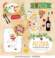 set of Pizza design elements
