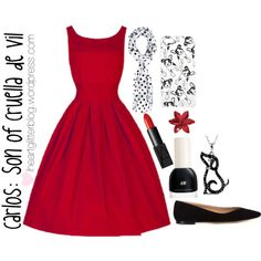 Carlos: Son of Cruella de Vil Inspired by nialler098 on Polyvore featuring Chloé, Stuller, River Island, NARS Cosmetics, H&M, disney, disneycharacter and disneydescendants