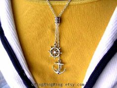 Anchor necklace jewelry - Silver necklace, ships wheel pendant, The best gift for Mother. US Navy ship from Ring Ring Ring on Etsy. Anchor Jewelry, Anchor Necklace, Nautical Jewelry, Jewelry Necklaces, Bracelets, Handmade Rings, Mother Gifts, Jewelry Trends, Sterling Silver Jewelry