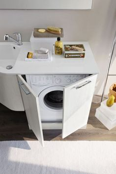 read this before repeating your laundry room 21 Loft Bathroom, Small Space Bathroom, Laundry In Bathroom, Small Spaces, Small Balcony Garden, Compact Living, Home Projects, Washing Machine, Kitchen Design