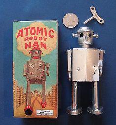 Atomic Robot Man Vintage Wind Up Tin Toy Silver Color Schylling 1997 Box   eBay