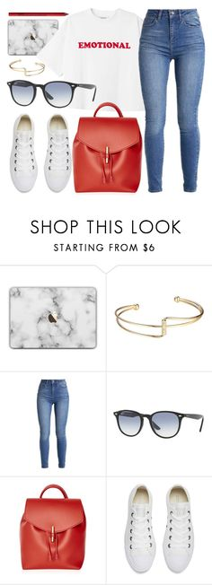 """""""Emotional"""" by smartbuyglasses ❤ liked on Polyvore featuring Ray-Ban, Topshop, Converse, NYX, white and red"""