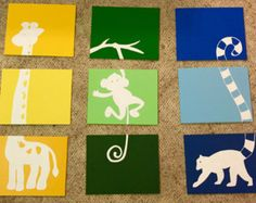 Three piece giraffe painting by ApricotInc on Etsy