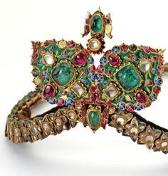 Detail: Emerald, Ruby, Diamond, Sapphire and Enamel Diadem, 19th Century. Via Diamonds in the Library.
