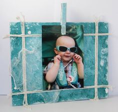 Free shipping. Turquoise Picture Photo Frame. by NIKscrapbooking