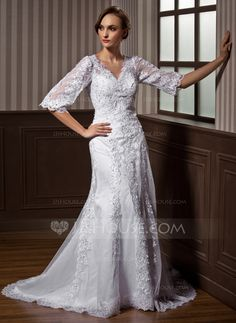 Wedding Dresses - $198.89 - A-Line/Princess V-neck Court Train Satin Tulle Wedding Dress With Lace Beadwork (002011617) http://jjshouse.com/A-Line-Princess-V-Neck-Court-Train-Satin-Tulle-Wedding-Dress-With-Lace-Beadwork-002011617-g11617?pos=your_recent_history_4