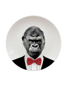 Wild Dining - Gorilla plates for everyone! The plates are designed to unleash your culinary creativity by adding hair, accessories and other embellishments to the bow tied-primate printed on their surface.