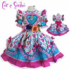 2ab8f05f8 Vestido exclusivo para a festa Junina de meninas. Todo confeccionado em  material 100% algodão