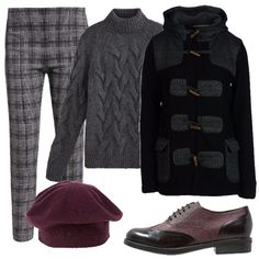 Nell'armadio di qualsiasi donna non può mancare un cappotto modello Montgomery. In questo outfit è abbinato ad un maglione con le trecce, un pantalone in fantasia Principe di Galles, delle stringate basse ed un basco bordeaux.