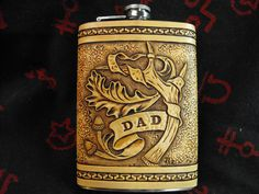 Custom Hand Tooled Leather Oak and Antler Flask by JPsLeather
