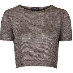 TOPSHOP TALL Metal Yarn Tee ($70) ❤ liked on Polyvore featuring tops, t-shirts, gunmetal, tall t shirts, metal t shirts, brown t shirt, brown tops and relaxed fit t shirt