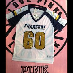 PINK NFL Chargers Jersey Bling NFL Jersey, San Diego Chargers, Size Medium, Brand New With Tags PINK Victoria's Secret Tops