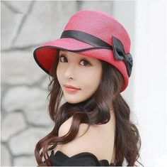 Chic color block bow straw hat for women UV protection sun hats #TopHatsForWomen