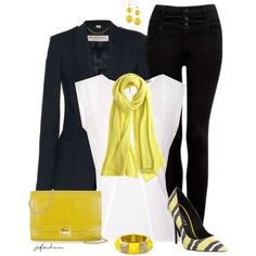 Accented In Yellow, created by jafashions on Polyvore