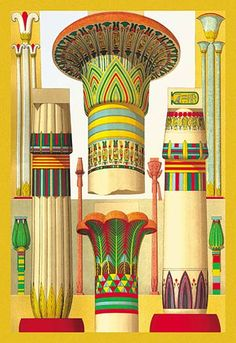 Egyptian Columns ~ Fine-Art Print - Egyptian Culture Art Prints and Posters - Ancient Egypt Pictures Ancient Egypt Art, Old Egypt, Ancient Egyptian Architecture, Egyptian Art, Egyptian Symbols, Free Illustrations, Art And Architecture, Archaeology, Art History