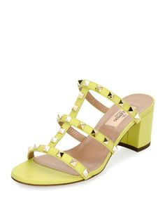 Rockstud+Caged+60mm+Slide+Sandal+by+Valentino+at+Neiman+Marcus.