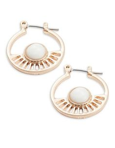 Design Lab Lord & Taylor Cutout Rose Goldtone Hoop Earrings Women's Ro