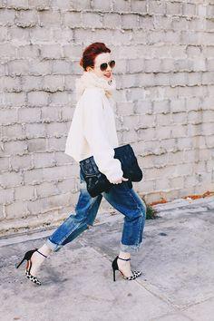 Chimala jeans , scarf c/o Chan Luu, StyleNanda sweatshirt, Proenza Schouler clutch