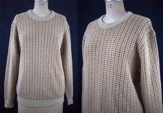 vtg ALAN PAINE 100% Lambswool Brown Geometric Crewneck Sweater England 40 M EUC #Alan Paine
