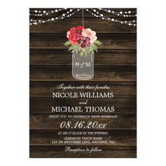 Rustic Wood Lace Wedding Invitation Mason Jar Invitation