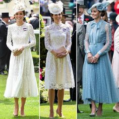"""Duchess On A Budget on Instagram: """"All in lacey at royal Ascot! From the left to right, which one would you wear? 1. 2016 - The Duchess channels My Fair Lady at Ascot in…"""" Kate Middleton Skirt, Kate Middleton Outfits, Kate Middleton Style, Duchess Kate, Duchess Of Cambridge, Race Day Outfits, Kate Middleton Prince William, Grace And Lace, Ankara Gown Styles"""