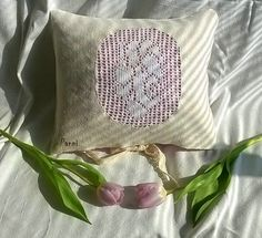 linen pillow ,,rose,, with lavender scent ( dried lavender flowers) Romantic, natural style *original hand made* price : 20 eur / piece shipping from Slovakia *handwoven linen