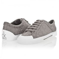 CALVIN KLEIN Woman Sneaker Shoes in Logated CK Fabric Granite Grey GISELLE CK
