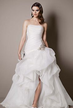 Brides Galina Signature Exclusively At Davids Bridal Organza And Tulle High Low Gown