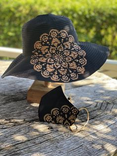 Black Hand painted and beaded womens sun hat. UV 50. Wide   Etsy Sun Hats For Women, Original Gifts, Cockatoo, Painting Patterns, Summer Sun, Kissing, Little Gifts, Favorite Color, Black Women