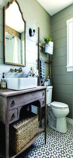 Leading shiplap walls small bathroom on this favorite site