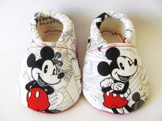 Vintage Looking Mickey Mouse Baby Shoes, Disney, Baby Booties, Baby Boy Shoes