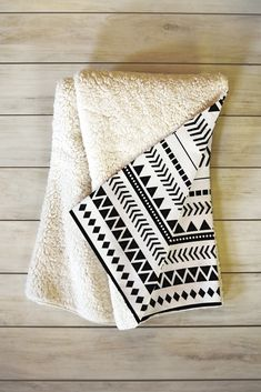 Allyson Johnson Black And White Aztec Pattern Fleece Throw Blanket | DENY Designs Home Accessories