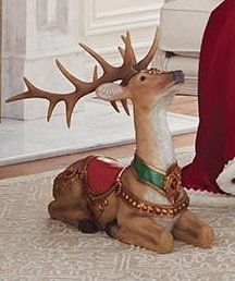 Cast from a handcrafted sculpture and painted by hand, this stately reindeer makes a beautiful addition to your holiday decor. Crafted from a durable resin/stone composite.