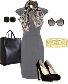 """""""Work it...."""" except the scarf and gold by damarad on Polyvore"""