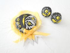 Tinkering Butterfly - Brooch and Earrings. $35.00, via Etsy.