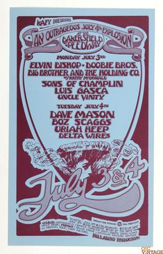 July 4th Explosion Elvin Bishop Doobie Bros Poster 1972 Bakerfield Speedway Randy Tuten