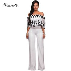 c170ae7ad70 Sexy white jumpsuits 2017 summer black blue embroidery ruffle overlay  strapless womens jumpsuit long clubwear 2017 new