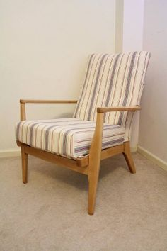 Parker Knoll recovered in French Ticking by TheHappyChairCompany, £150.00