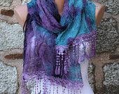 "Purple Blue Scarf - Cowl with Lace Edge ""Butterfly effect"""