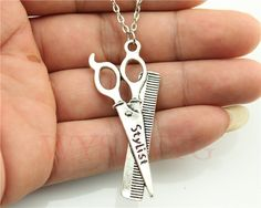 WYSIWYG silver tone 24*53mm Barber scissors pendant necklace