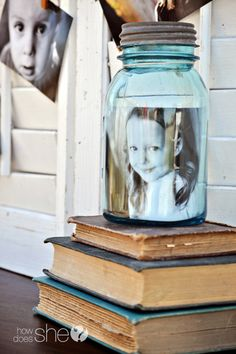 Photos in a jar! A cute way to display your photos without having to buy an expensive frame.