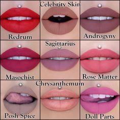 Jeffree Star Cosmetics ~ Velour Liquid Lipstick Swatches ~ Redrum, Masochist, Posh Spice, Celebrity Skin, Sagittarius, Chrysanthemum, Androgyny, Rose Matter, & Doll Parts