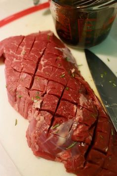 Grilled London Broil, is a surprisingly quick and easy recipe, it features an inexpensive cut of beef, which is first marinated overnight and then grilled. Grilled Steak Recipes, Grilled Meat, Grilling Recipes, Beef Recipes, Cooking Recipes, London Broil Marinade, Grilled London Broil, London Broil Recipes, Recipes