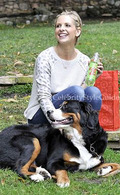 Seen on Celebrity Style Guide: Sarah Michelle Gellar is all smiles in this adorable leopard sweater while relaxing with her precious pooch in LA....Get her sweater: http://rstyle.me/~14D2f