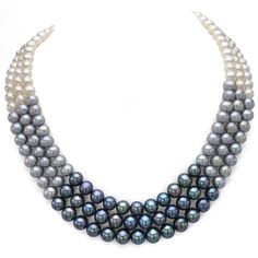 @Overstock - DaVonna Sterling Silver White Black and Grey Pearl 3-row Necklace (6-8 mm) - This elegant 3-row multi-color necklace from DaVonna jewelry features 6-8 mm white black and grey off round freshwater pearls. The necklace is secured with a shiny sterling silver tube clasp.  http://www.overstock.com/Jewelry-Watches/DaVonna-Sterling-Silver-White-Black-and-Grey-Pearl-3-row-Necklace-6-8-mm/9245485/product.html?CID=214117 $106.24